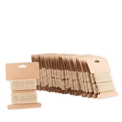 "Genie Crafts 24-Pack Brown Burlap Jute Fabric Ribbon Trim Roll 1"" x 1.09 Yard for Crafts Embellishments"