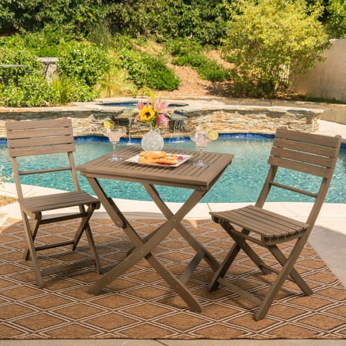 Positano 3pc Acacia Wood Foldable Bistro Set - Christopher Knight Home - image 1 of 4