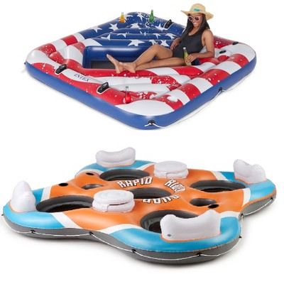 Intex Inflatable American Flag Float & Bestway Rapid Rider Float
