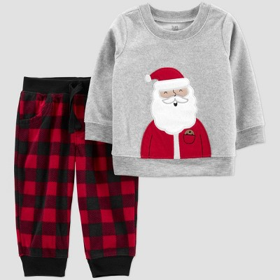 Baby 2pc Buffalo Check Santa Top and Bottom Set - Just One You® made by carter's Gray/Red Newborn