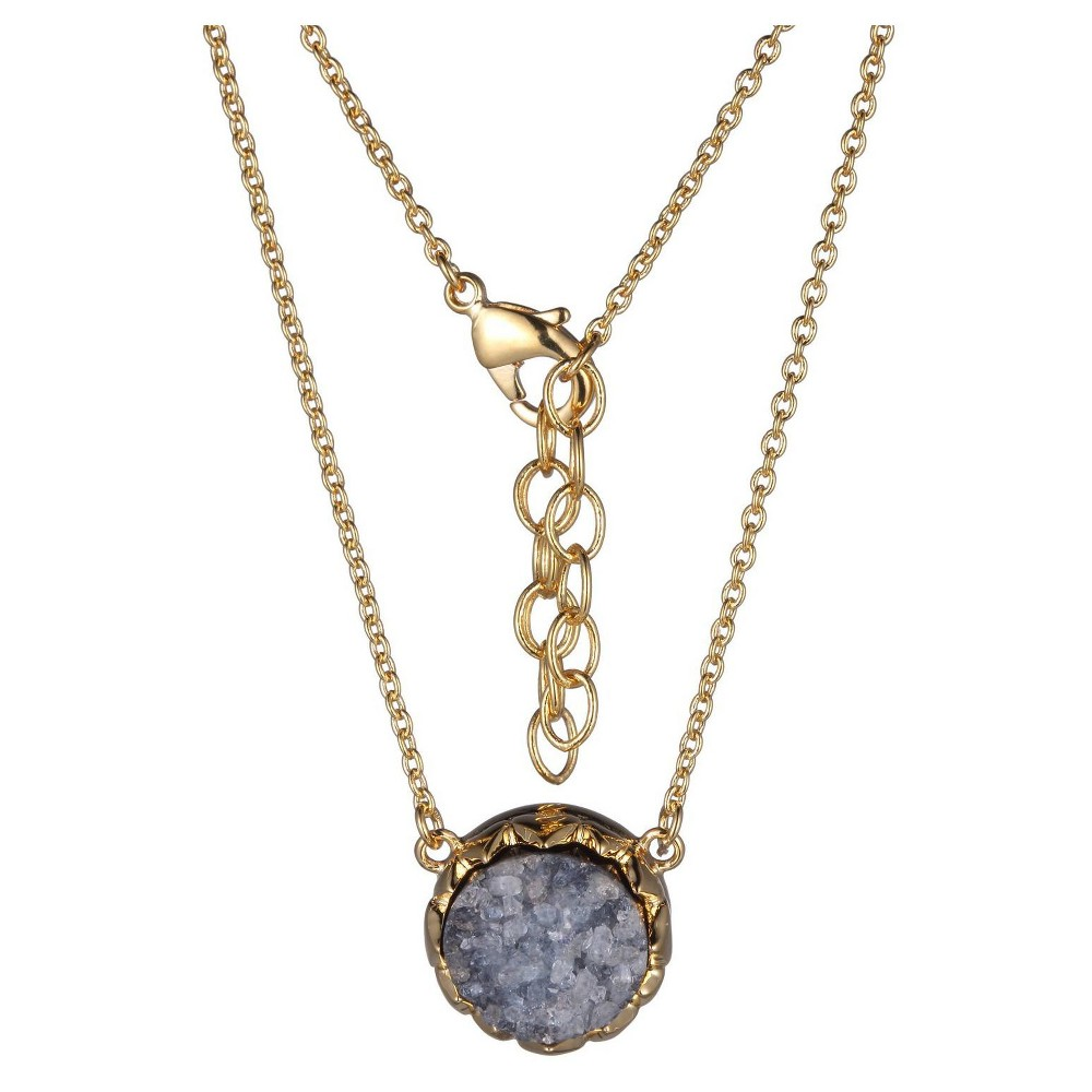 """Image of """"18k Gold Over Fine Silver Plated Bronze Genuine Gray Druzy Necklace - 16"""""""" + 2"""""""" Extender, Women's, Gold/Gray"""""""