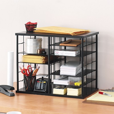 Rubbermaid 12-Slot Organizer MDF Desktop Sorter 21 x 11 3/4 x 16 Black 1738583