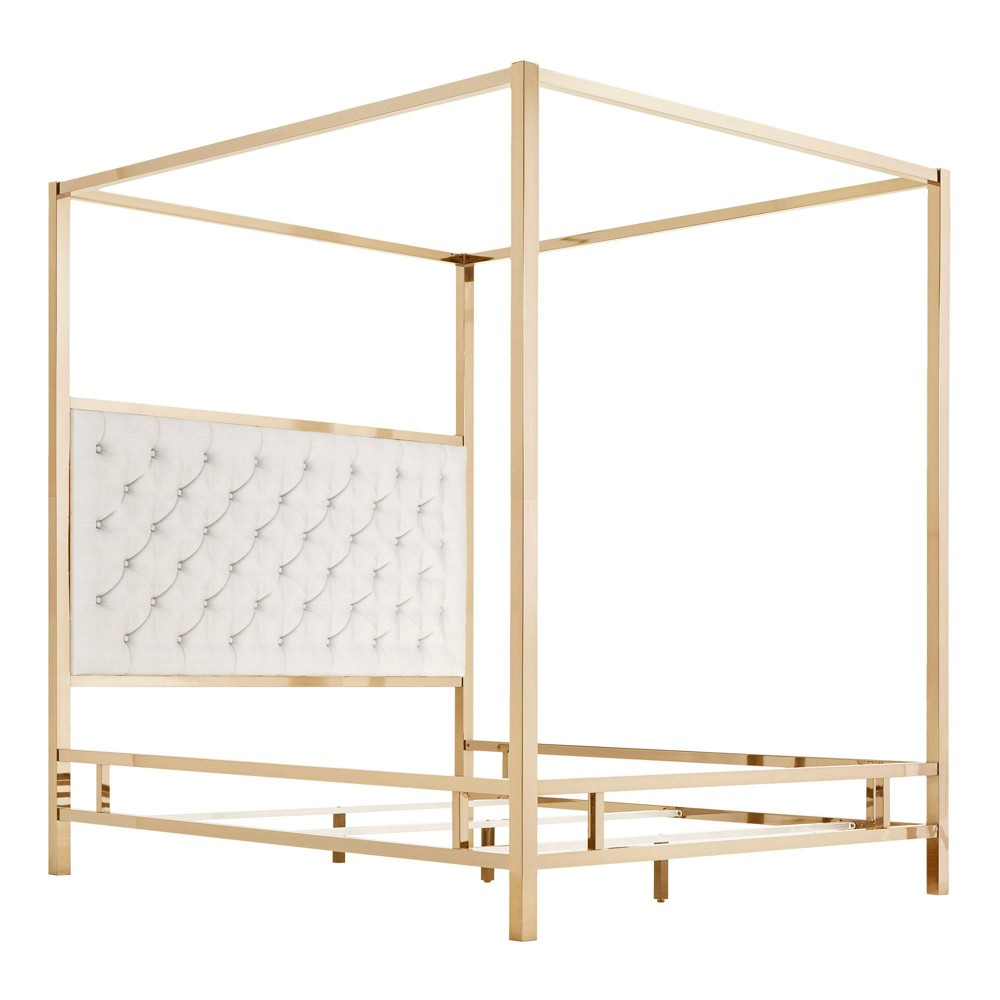 Full Manhattan Champagne Gold Canopy Bed with Diamond Tufted Headboard White - Inspire Q