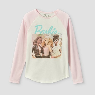 Girls' Barbie Long Sleeve Graphic T-Shirt - Pink/Off-White