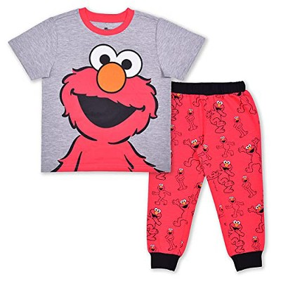 Boy's 2-Piece Sesame Street Short Sleeve Graphic Tee Shirt and Printed Jogger Pant Set for Toddlers