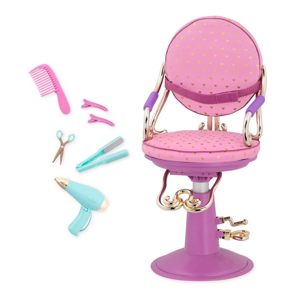 Our Generation Sitting Pretty Doll Salon Chair - Gold Hearts Purple Base