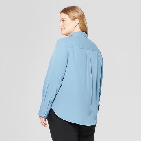 60fb44e14 Women's Plus Size Long Sleeve V-Neck Essential Button-Down Blouse - Prologue™  Blue