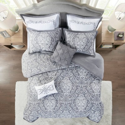 8pc California King Amelia Jacquard Comforter Set - Gray