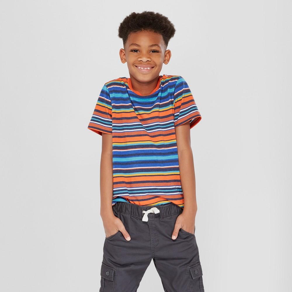 Boys' Short Sleeve Stripe T-Shirt - Cat & Jack Blue/Orange M