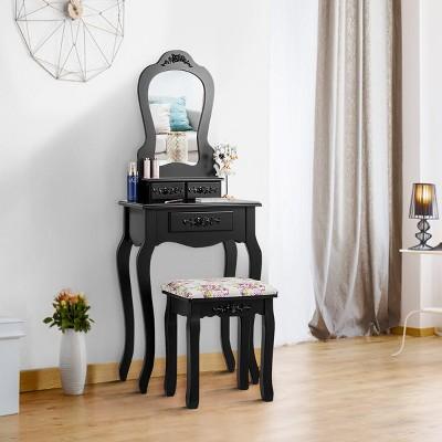 Costway Vanity Wood Makeup Dressing Table Stool Jewelry Desk Black