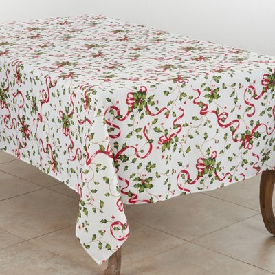 Holly and Ribbon Tablecloth - Saro Lifestyle