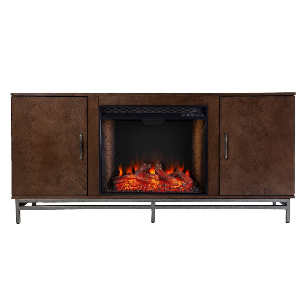 Retim Alexa Smart Fireplace With Media Storage Brown Silver Aiden Lane