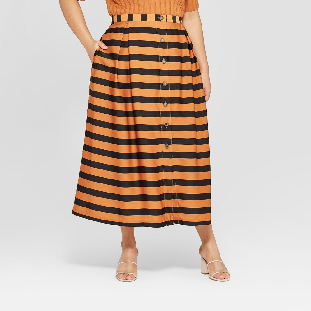 Women's Plus Size Striped Button Front A-Line Midi Skirt - Who What Wear Black/Brown 20W