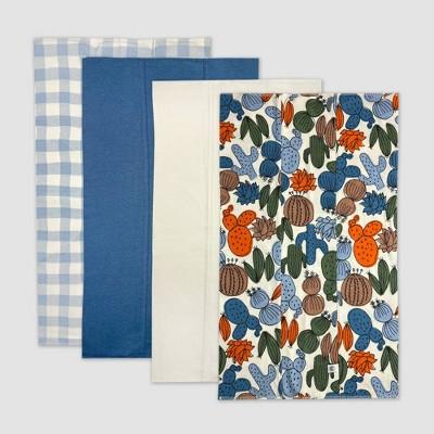 Honest Baby Boys' 4pk Organic Cotton Cactus Print Multilayer Woven Burp Cloth Set - Blue