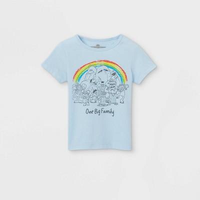 Toddler Girls' Sesame Street 'One Big Family' Short Sleeve Graphic T-Shirt - Blue