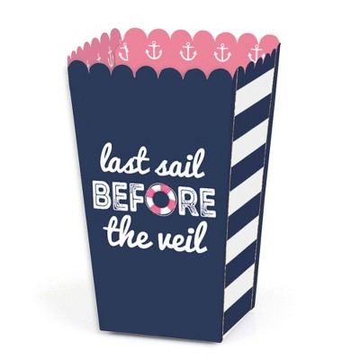 Big Dot of Happiness Last Sail Before the Veil - Nautical Bridal Shower and Bachelorette Party Favor Popcorn Treat Boxes - Set of 12