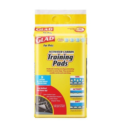 Glad Activated Carbon Training Pads for Puppies and Senior Dogs - 30ct
