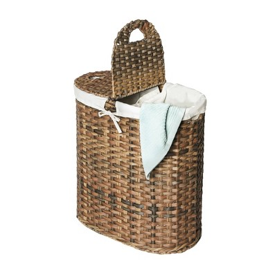 Seville Classics Hand-Woven Oval Double Laundry Hamper With Liner Natural Brown