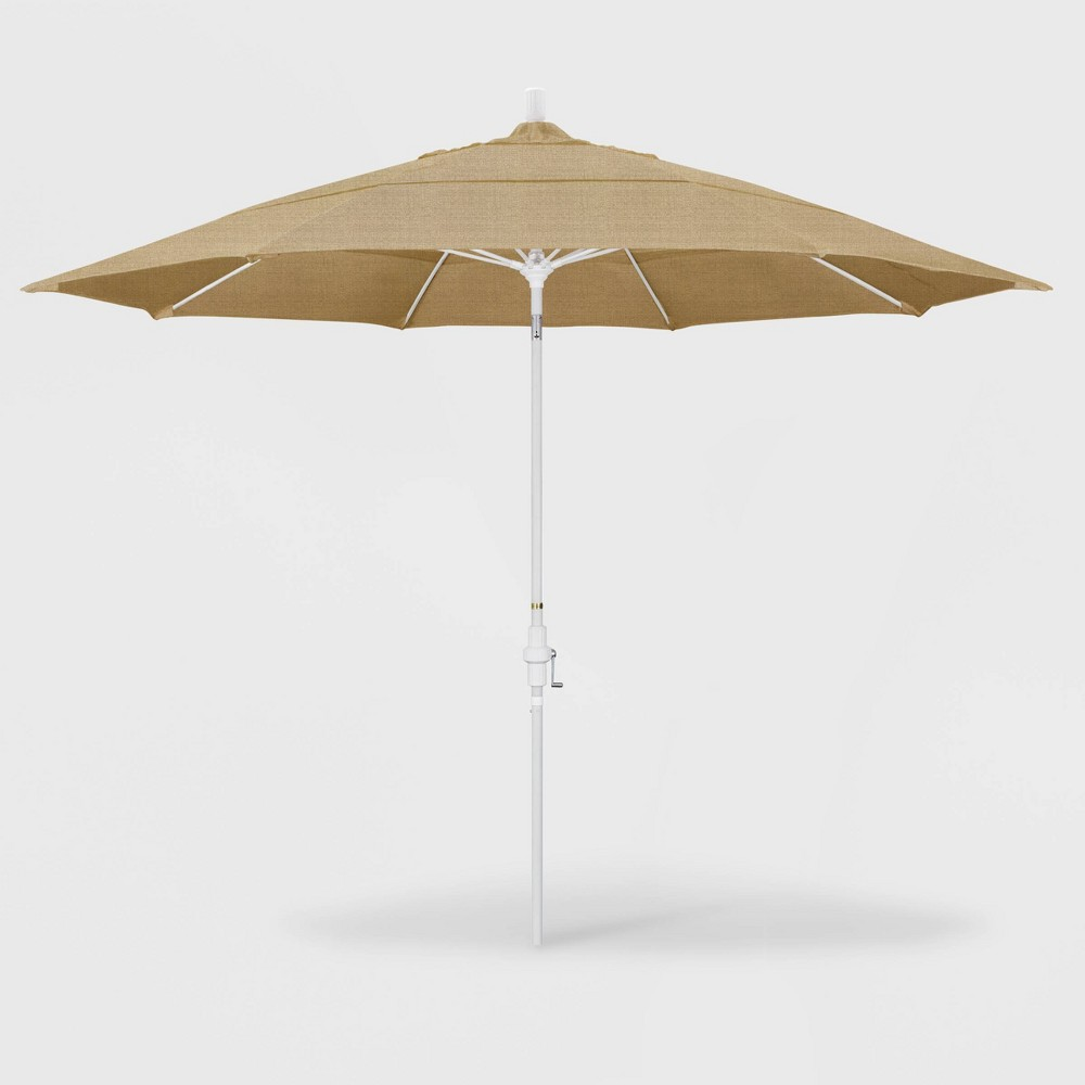 Image of 11' Sun Master Patio Umbrella Collar Tilt Crank Lift - Sunbrella Linen Sesame - California Umbrella