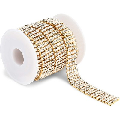 Bright Creations Crystal Rhinestone with Gold Chain for Sewing and Arts and Crafts, 5 Rows (4 mm, 3 Yards)