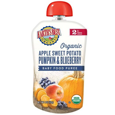 Earth's Best Organic Stage 2 Apple Sweet Potato Pumpkin & Blueberry Baby Food - 4oz