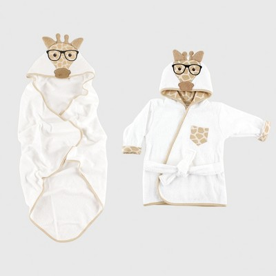 Hudson Baby Animal Face Hooded Towel & Bath Robe Set, Giraffe - Beige 0-9M