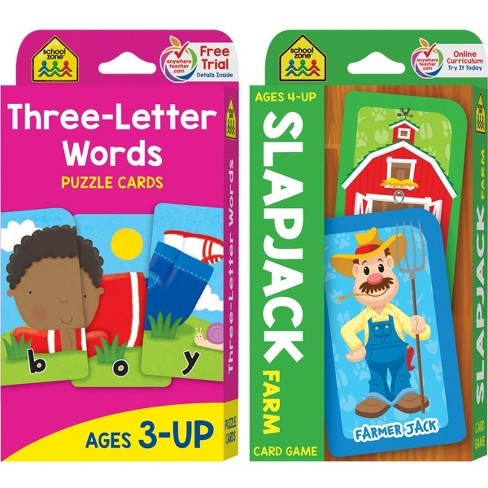 Get Ready Game Cards 2-pack - Three-Letter Words & Slapjack Farm, Ages 4-Up (School Zone Publishing) : Target