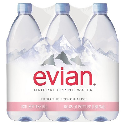 Evian Natural Spring Water - 6pk / 1 L Bottles