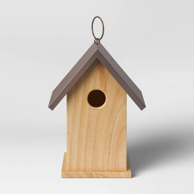 """12.4"""" x 7"""" Wood and Iron Bird House Brown - Smith & Hawken™"""