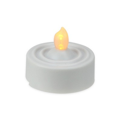 Darice Set of 4 LED Prelit Battery Operated Flicker Flame Tea Light Candles - White