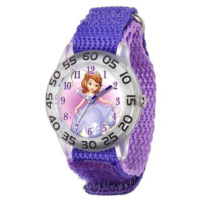 Girls' Disney Sofia the First Plastic Time Teacher Watch- Purple