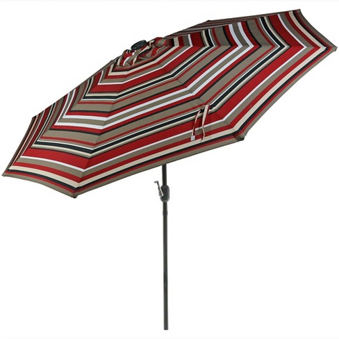 Aluminum Solar Market Tilt Striped Patio Umbrella 9' - Awning Stripe - Sunnydaze Decor - image 1 of 4