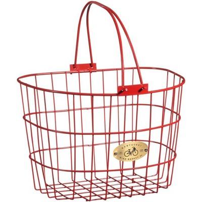 """Nantucket Bike Basket Co. Surfside Adult Wire D Handlebar Basket: Red Dimensions: 13.25 x 10 x 9"""""""