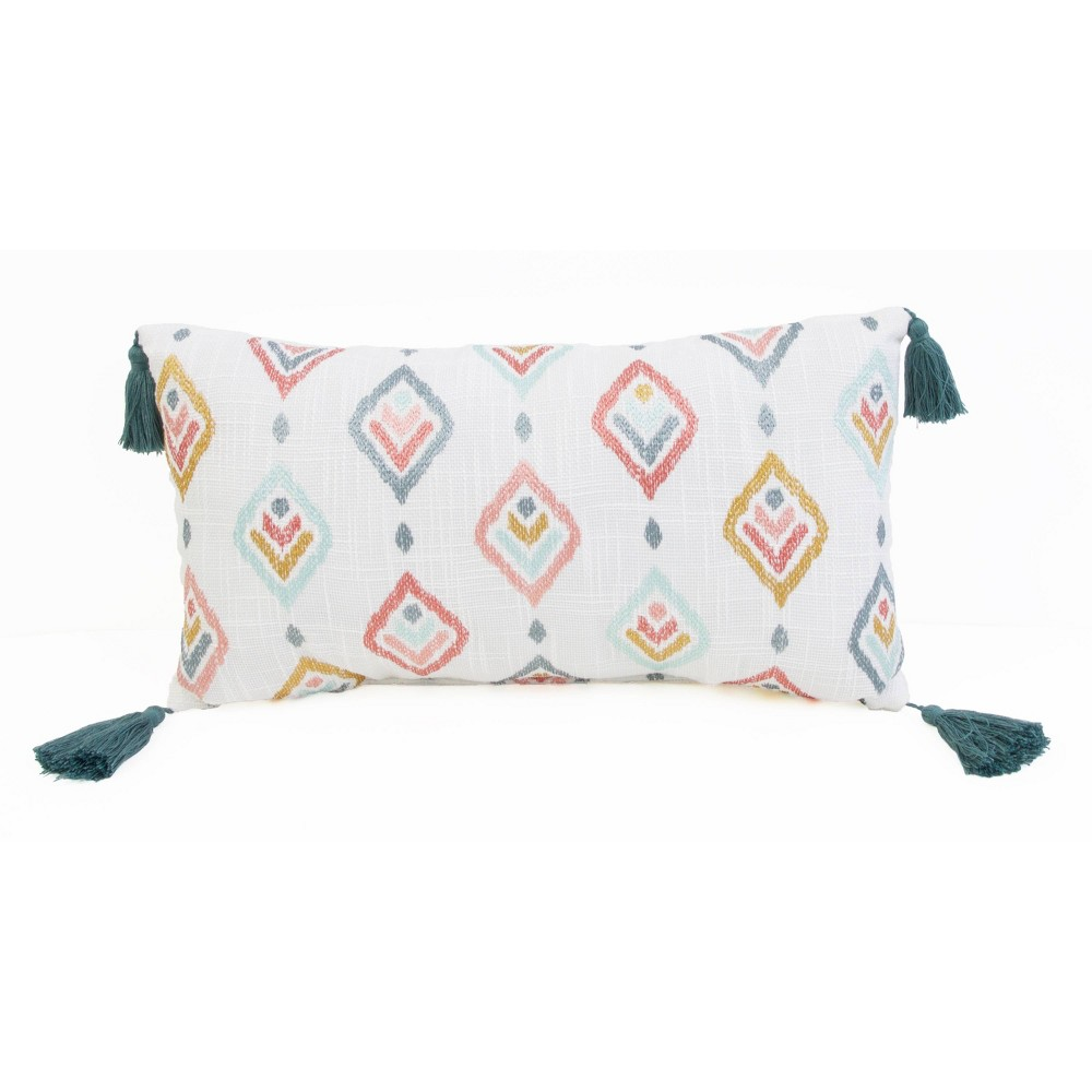 """Image of """"12""""""""x20"""""""" Sophie Embroidered Faux Linen Pillow - Décor Therapy"""""""