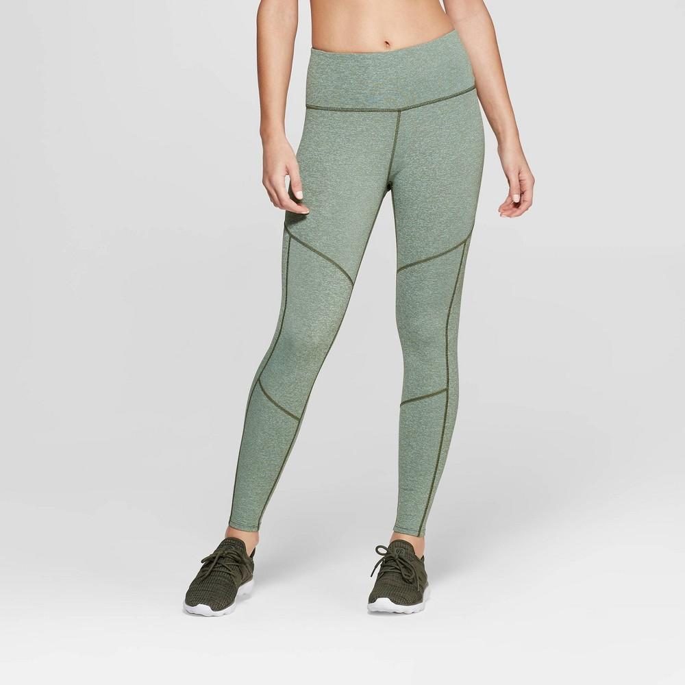 Women's Performance High-Waisted 7/8 Mini Striped Leggings - JoyLab Olive Green Heather XL