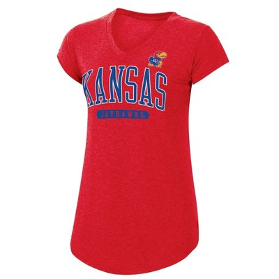 NCAA Kansas Jayhawks Women's Red Short Sleeve V-Neck T-Shirt