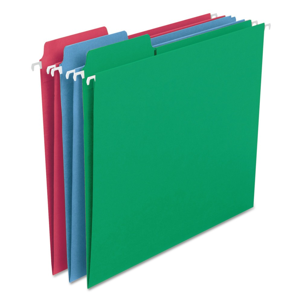 Smead FasTab Hanging File Folders, Letter, Assorted Primary, 18/Box, Blue/Red/Green