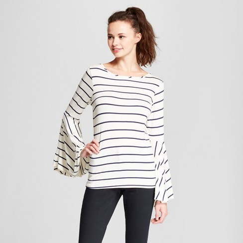 Women's Long Ruffle Bell Sleeve Striped Blouse - Alison Andrews - image 1 of 2