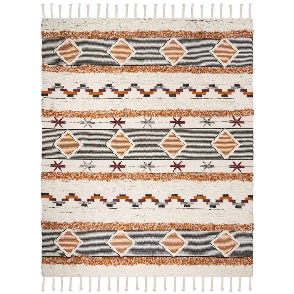 9'X12' Tribal Design Knotted Area Rug Ivory/Black - Safavieh, White