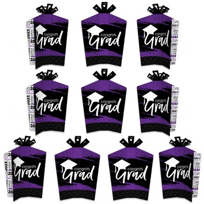 Big Dot of Happiness Purple Grad - Best is Yet to Come - Table Decorations - 2021 Purple Graduation Party Fold and Flare Centerpieces - 10 Count
