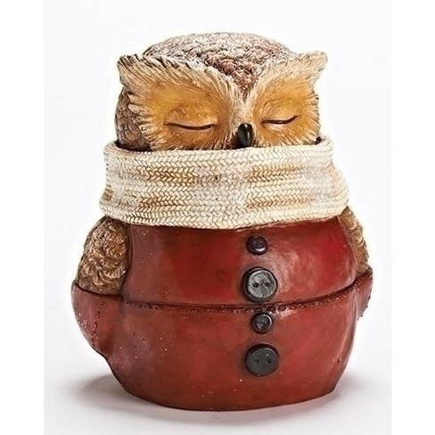 """Roman 8.5"""" Sleepy Owl Dressed in Red Suit with White Scarf Christmas Table Top Figure - image 1 of 1"""