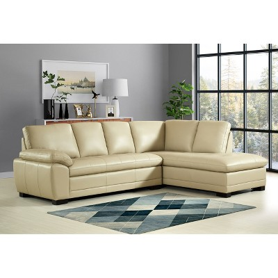 Roscoe Leather Sectional   Cream   Abbyson : Target