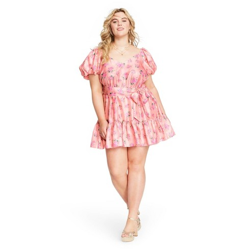 Women's Cécile Puff Sleeve Dress - LoveShackFancy for Target (Regular & Plus) Pink Melon  - image 1 of 4