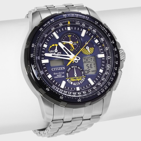 Men's Citizen Blue Angels JY8058-50L Stainless Steel Analog Digital Chronograph Link Watch - Silver/Black - image 1 of 4