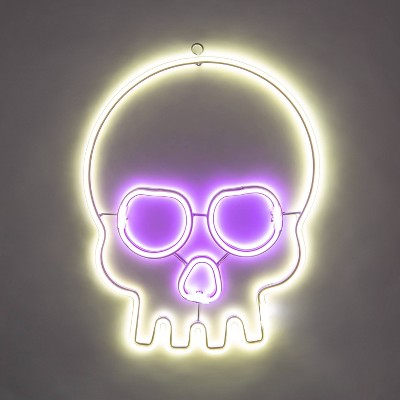 Purple & White Flashing LED Neon Rope Skull Halloween Light Up Decor - Hyde & EEK! Boutique™