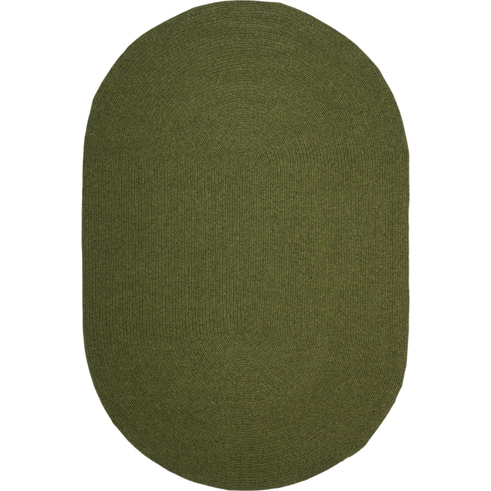 8'X10' Solid Woven Oval Area Rug Green - Safavieh