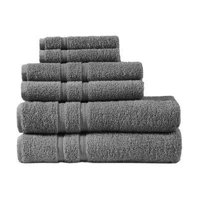 6pc Aegean 100% Turkish Cotton Bath Towel Set Charcoal