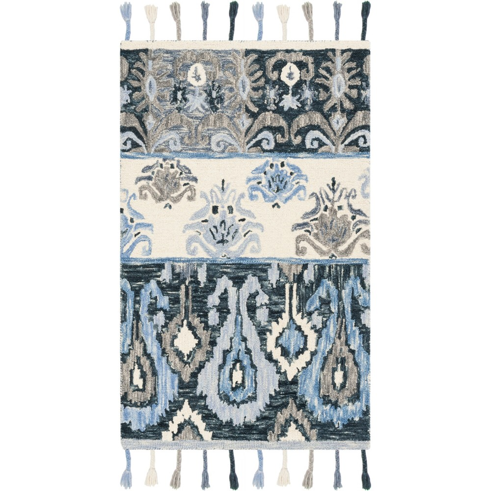 3'X5' Shapes Hooked Accent Rug Blue/Ivory - Safavieh