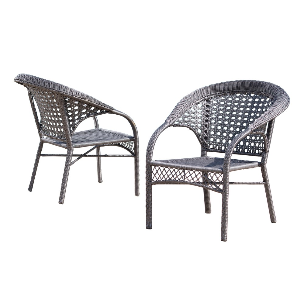 Maria 2pk Wicker Fan Back Patio Chairs - Gray - Christopher Knight Home