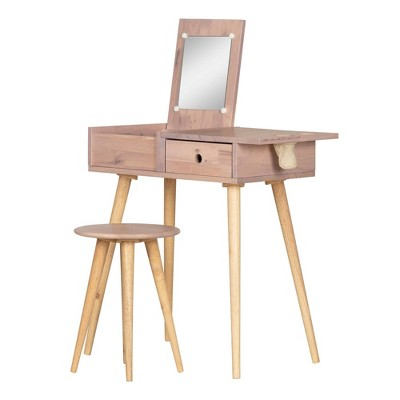 Sweedi Solid Wood Vanity Table with Stool Set - South Shore